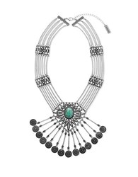 Steve Madden Turquoise Silvertone Textured Disc Necklace