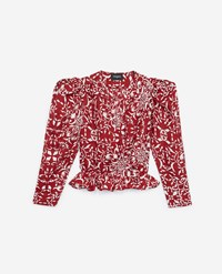 The Kooples Printed Red Blended Silk Top With Ruffles