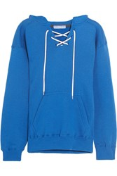 Koza Surfy Surfy Appliqued Cotton Blend Jersey Hooded Sweatshirt Bright Blue