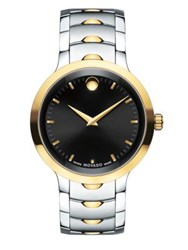Movado Luno Stainless Steel Analog Bracelet Watch Silver Gold