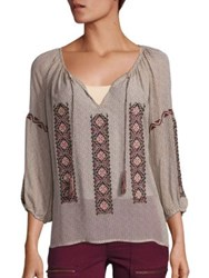 Joie Wavebreak Cotton Embroidered Peasant Blouse Almond