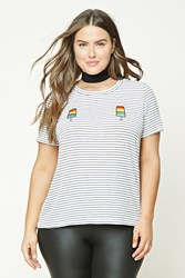 Forever 21 Plus Size Popsicle Patch Tee Ivory Black