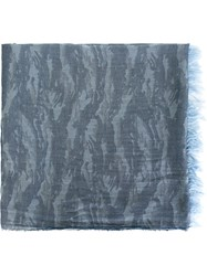 Woolrich Camouflage Jacquard Scarf Blue