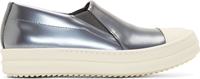 Rick Owens Silver Leather Boat Slip On Sneakers