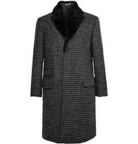Ovadia And Sons Shearling Trimmed Wool Tweed Overcoat Black