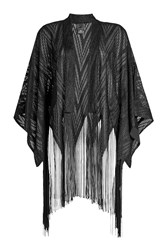 Anna Sui Fringed Cape Black