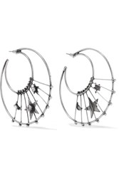 Dannijo Fynn Oxidized Silver Plated Swarovski Crystal Hoop Earrings One Size