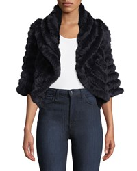 Neiman Marcus Luxury Cashmere Fur Shrug Navy