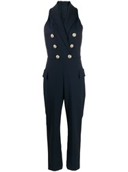 Balmain Double Breasted Jumpsuit Blue