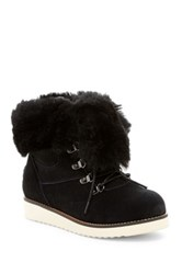 Australia Luxe Collective Yael Hidden Wedge Foldover Genuine Shearling Boot Black
