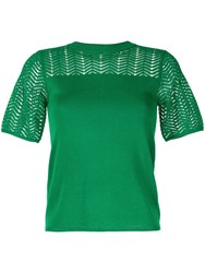 Guild Prime Geometric Pattern Knitted Top Green