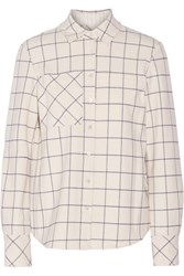 Derek Lam 10 Crosby By Camp Checked Voile Shirt Ivory
