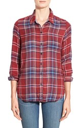 Women's Lucky Brand 'Bungalow' Plaid Flannel Shirt Red Multi
