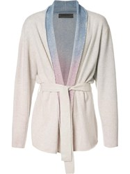 The Elder Statesman 'Rainbow Gradient' Belted Cardigan Nude Neutrals
