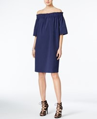 Rachel Roy Smocked Off The Shoulder Dress Only At Macy's Navy White
