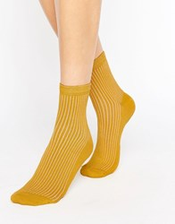 Asos Ribbed Ankle Socks Mustard Yellow