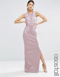 Asos Tall Red Carpet Lace Placed Sweetheart Maxi Dress Dark Purple