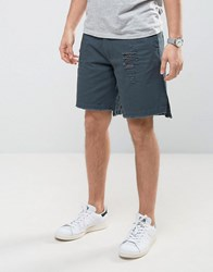 Asos Oversized Shorts With Rip And Repair Details And Raw Edge Grey