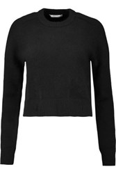 Carven Cropped Wool And Angora Blend Sweater Black