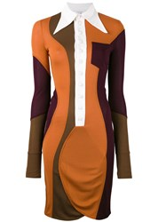 Givenchy Colour Block Fitted Shirt Dress Women Viscose 38 Yellow Orange
