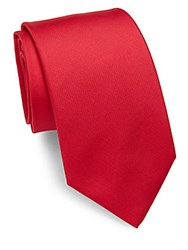 Saks Fifth Avenue Solid Silk Spun Tie Red