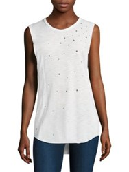 Feel The Piece Stars Cut Off Tank White