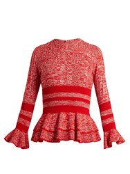 Alexander Mcqueen Peplum Hem Striped Wool And Silk Blend Sweater Red