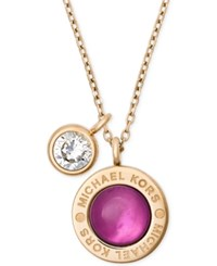 Michael Kors Colored Imitation Mother Of Pearl Pendant Necklace Purple