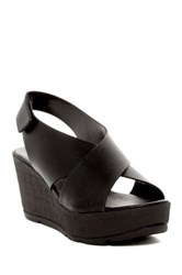 Callisto Criss Cross Wedge Sandal Black
