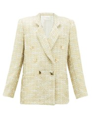 Rodarte Double Breasted Metallic Tweed Suit Jacket Gold