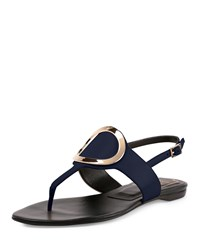 Roger Vivier Round Buckle Flat Leather Thong Sandal Navy