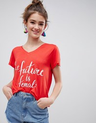 Blend She Caraz Future Is Female Print T Shirt Poppy Red