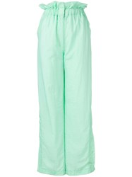 House Of Holland High Waist Flared Trousers Green