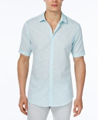 Alfani Red Men's Slim Fit Striped Short Sleeve Shirt Only At Macy's Cool Mist
