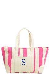 Cathy's Concepts Monogram Stripe Canvas Tote Pink