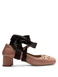 Miu Miu Ankle Tie Leather Pumps Nude