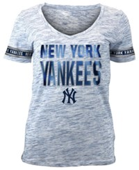 5Th And Ocean Women's New York Yankees Plus Space Dye Sleeve T Shirt Navy