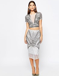 Asos Night Embellished Pencil Skirt Co Ord Silver