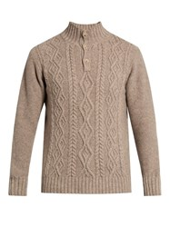Inis Meain Aran Knit Wool Sweater Beige