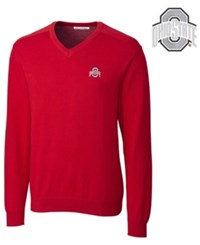 Cutter And Buck Men's Ohio State Buckeyes Broadview V Neck Sweater Red