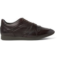 Burberry Panelled Leather Sneakers Dark Brown
