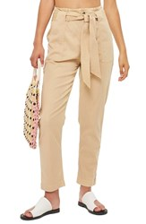 Topshop Popper Utility Trousers Stone