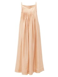 Loup Charmant Salinas Pleated Silk Dress Beige