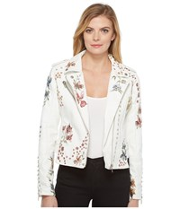 Blank Nyc White Floral Embroidered Moto Jacket In Midsummer Dream Midsummer Dream Women's Coat