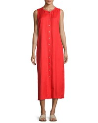 Joan Vass Sleeveless Button Front Maxi Dress Red