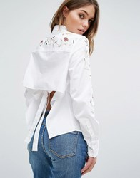 Blank Nyc Embroidered Shirt With Open Back Detail Winding Vines Blue
