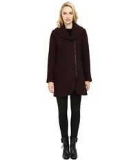 Jessica Simpson Asymmetrical Braided Wool Coat With Shawl Collar Boysenberry Women's Coat Pink