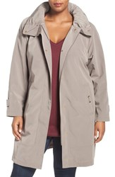 Gallery Plus Size Women's Water Repellent Silk Look Rain Coat Desert Sand