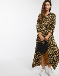 Maison Scotch Leopard Print Belted Maxi Dress Brown