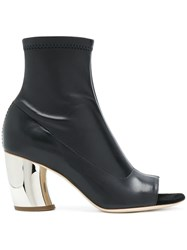 Proenza Schouler Open Toe Ankle Boots Leather Black
